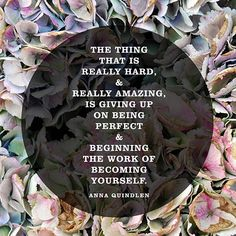"""""""The thing that is really hard, and really amazing, is giving up on being perfect and beginning the work of becoming yourself."""" — Anna Quindlen F*cking word. Wisdom Quotes, Quotes To Live By, Life Quotes, Anna Quindlen, Motivational Quotes, Inspirational Quotes, Insightful Quotes, Perfection Quotes, You Are Perfect"""