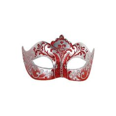 Red And Silver Stella Colombina Venetian Masquerade Mask ❤ liked on Polyvore featuring accessories