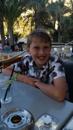 Thomas with a cheesy grin whilst in Ibiza August 2015.
