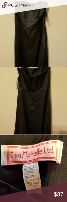 Erika Michelle black satin dress. New Erica Michelle dress witg back,zip and pretty net detail on bottom.  Nice for a special occasion. Erika Michelle Dresses Midi