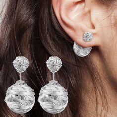 Designer Damen Ohrschmuck Ohrringe Kugel Ball Geflochten