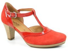 Gabor Schuhe Damen Spangen Pumps High Heels rot Nubuk Lack Weite G 62-282-48, Schuhgröße:38.5