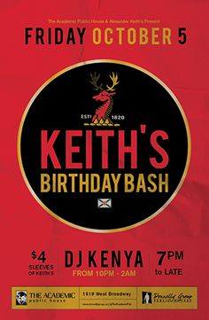 Keith's Birthday Bash at The Academic - Friday, October 5th