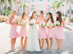 pink wedding bridesmaid dresses you can see it kickin it up cute with boots...dress n flowers way too much white...use just for visual?
