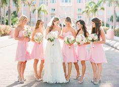 pink wedding bridesmaid dresses