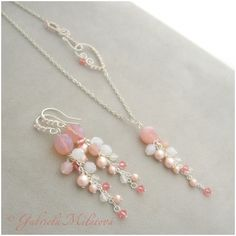 Pink crystal and pearl asymmetrical