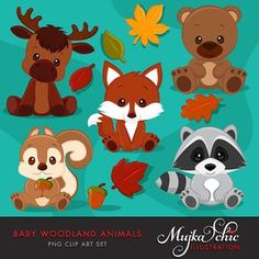 Baby Woodland Animals clipart. Baby fox, Baby squirrel, Baby moose, baby raccoon, baby bear graphics with fall laves and acorn.