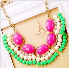 Bohemian exaggerated large colored stones Necklace,Cheap Fashion Beauty short necklaces,offers latest bib necklace,shop at http://costwe.com/beauty-short-necklace-c-59_75.html