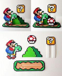 Articles similaires à Scène 3D: Super Mario World perler…