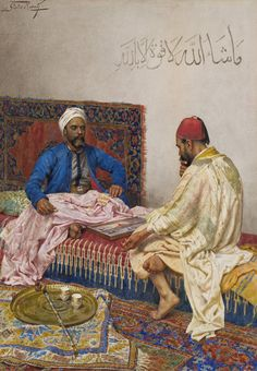 Backgammon Players by the renowned Italian painter Giulio Rosati (1858-1917). Find out about this picture at http://secretagentmarketing.wordpress.com
