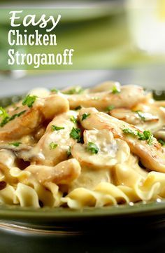 Easy Chicken Stroganoff - This one-skillet chicken dish features a creamy mushroom sauce and a whole lot of flavor. It's comfort food that's ready to serve in just 45 minutes. Chicken And Egg Noodles, Chicken Mushroom Pasta, Chicken Pasta Recipes, Mushroom Sauce, Skillet Chicken, Recipe With Grilled Chicken Strips, Egg Noodle Recipes, Meat Recipes, Cooking Recipes