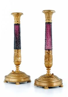 Russian Gilt-bronze and Cut Crystal Candlesticks, circa Candle Sticks, Candelabra, Vases, Art Decor, Candle Holders, Auction, Bronze, Candles, Crystals