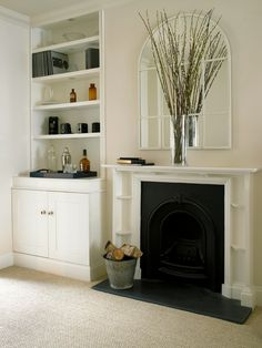 Battersea, Victorian Terraced House - love the fireplace Fireplace Bookshelves, Small Fireplace, Fireplace Surrounds, Fireplace Candles, Craftsman Fireplace, Cottage Fireplace, Fireplace Decorations, Limestone Fireplace, Concrete Fireplace