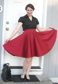 Red taffeta circle skirt for swing dancing.