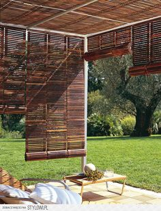 For the outdoor or patio landscaping the pergola gazebos are mostly used and being famous in people especially for shading in the garden or deck purposes. Some rooftop pergola gazebos designs are very charming in regard in shades. As the shade covers Outdoor Rooms, Outdoor Gardens, Outdoor Living, Outdoor Blinds, Patio Blinds, Privacy Blinds, Outdoor Curtains, Blinds Diy, Outdoor Paneling