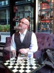 in Lookings Glass Books, Edinburgh for the launch of The Guillotine Choice. (I was talking to a giant.)