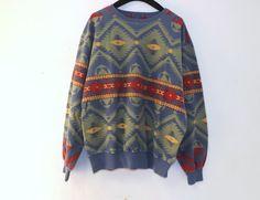 Vintage 80s 90s Unisex Sweatshirt Southwestern Aztec Tribal Print Size Medium Large Fall Knit Geometric Boho Men Women Long Sleeve Shirt
