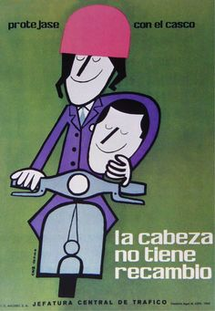 La cabeza no tiene recambio, protejase con el casco.  Cruz Novillo illustration (1962)
