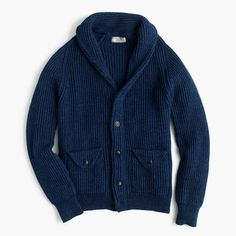 J.Crew Womens Wallace & Barnes Indigo Cotton Shawl Cardigan Sweater (Size XL)