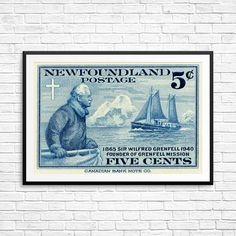 Newfoundland, Canadian stamp, sailing ship print, iceberg art, newfoundland canada, newfoundland postage, fine art etching print, fine art