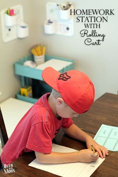Homework Station with Rolling Cart! This cart will help make homework time a breeze! | www.overthebigmoon.com!