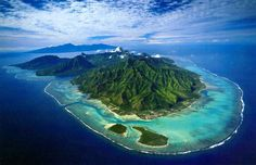The island of Moorea with the big island of Tahiti behind it....would love to go back!