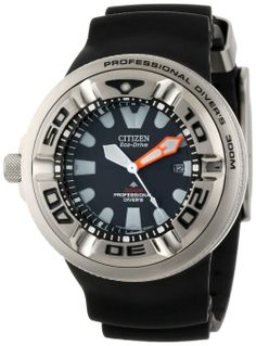 Citizen Men's BJ8050-08E Eco-Drive Professional Diver Black Rubber Strap Watch: Watches: Amazon.com