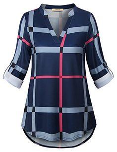 Looking for Bebonnie Bebonnie Women's Roll Sleeve Casual V-Neck Tops Plaid Shirts Tunic Blouse ? Check out our picks for the Bebonnie Bebonnie Women's Roll Sleeve Casual V-Neck Tops Plaid Shirts Tunic Blouse from the popular stores - all in one. Jean Shirt Outfits, Skirt Outfits, Casual Outfits, Shirt Dress, Fashion Outfits, Tunic Blouse, Women's Fashion, Kurta Designs, Blouse Designs