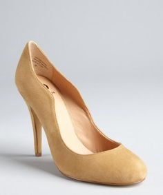 I wish i could find these in a nice Forest Green ~ Kelsi Dagger : camel suede 'Lillian' pumps