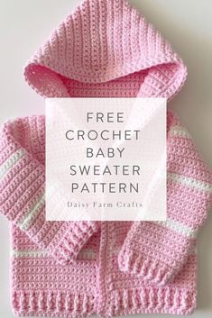 Best Free Crochet baby jacket Tips Free Crochet Baby Sweater Pattern – Single Crochet Baby Sweater Crochet Baby Sweater Pattern, Crochet Baby Jacket, Crochet Baby Sweaters, Baby Sweater Patterns, Baby Girl Sweaters, Baby Girl Crochet, Crochet Baby Clothes, Crochet For Kids, Baby Patterns