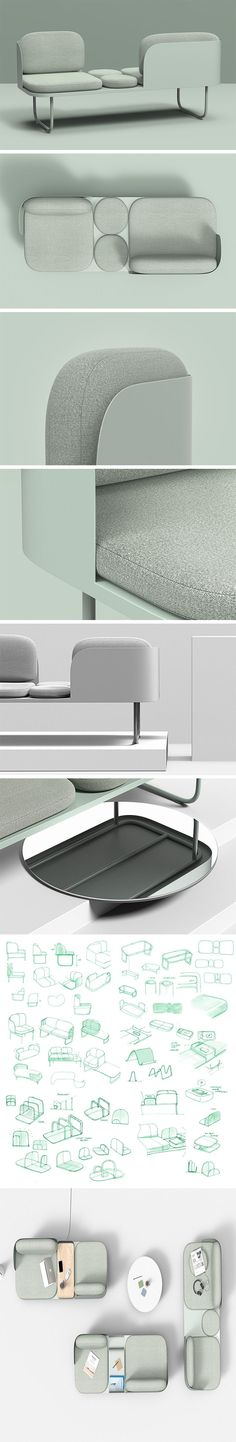 Designed to bridge the gap between the office environment and communal lounge areas, the Wrap Benches large seats are orientated in opposing directions to subtly create privacy for the users. To separate the two seats and to allow the seating to accommodate different needs in the office space, the middle section offers different units; these include the option for built-in power outlets, a magazine rack or a small table.