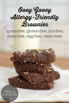 Ooey Gooey Allergy-Friendly Brownies | Do you live grain-free, gluten-free, egg-free, dairy-free, and nut-free? Is it severely throwing off your dessert game? These vegan Ooey Gooey Allergy-Friendly Brownies are everything-free, including bean-free, but still moist, fudgy, and nourishing! | TodayInDietzville.com