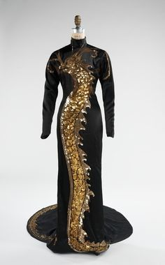 "Travis Banton | c. 1934  Paramount Studios costume designer this dress was worn by Chinese-American actress Anna May Wong for Wong's role of Tu Tuan in the 1934 film ""Limehouse Blues."""