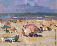 """SSU13-2014 Schuring Seascape Summer Parasols"" original fine art by Roos Schuring"