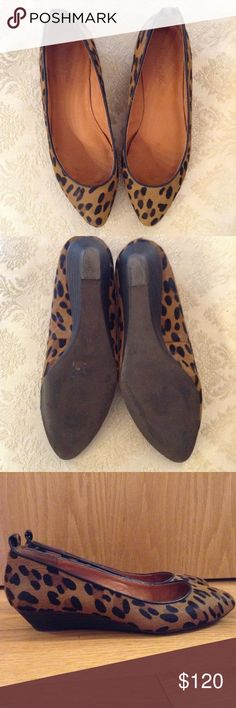 """Madewell the Mini Wedge in Calf Hair These beautiful all season soul mates add a flattering amount of lift! Style number is 38116. 11/8"""" stacked heel. Printed calf hair and oiled leather upper. Leather lining. Man made sole. Missing original removable ankle strap. I think they look better without it anyway! They are lightly worn, the very minor signs of wear are pictured, and are really unnoticeable. Make me offers! These beauties have got to go! Madewell Shoes Flats & Loafers"""