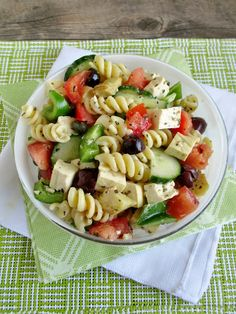Greek Pasta Salad with Tofu Feta | Save and organize your favourite recipes on your iPhone and iPad with @RecipeTin! Find out more www.recipetinapp.com #recipes #vegan #pasta