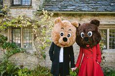 bear costumes engagement photos