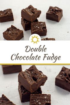 5 easy ingredients plus 5 minutes of prep time are all you need for a perfect, delicious, sweet and salty double chocolate fudge. Easy To Make Desserts, Easy Desserts, Dessert Recipes, Yummy Recipes, Dark Chocolate Chips, Chocolate Fudge, Yummy Snacks, Yummy Food, Cake Hacks