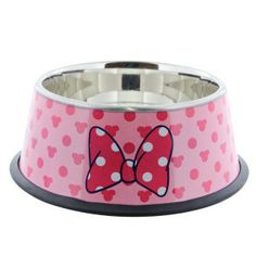 Disney SS Minnie Pink Dotted Dog Bowl $16.99 ... Just bought this. Can never have too much Disney in my life. #Dogs #Cat #Cats #Pets #Products #Bowls #Mouse #MinnieMouse #Disney
