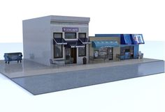 3D city street dining scene for Poser and DAZ Studio contains three food related buildings