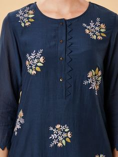 Navy Blue Embroidered Cotton Silk Kurta with Pants- Set of 2 Silk Kurti Designs, Churidar Neck Designs, Kurta Designs Women, Kurti Designs Party Wear, Cotton Kurtis Designs, Salwar Designs, Neck Designs For Suits, Sleeves Designs For Dresses, Neckline Designs