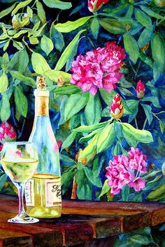 Wine And Rhodies Painting  - Karen Stark Watercolor