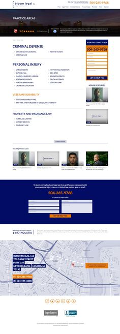 Law firm practice area page. law firm web design, legal web design, lawyer website, attorney web design