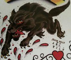 "Traditional/old school tattoo, Jeromey ""tilt"" McCulloch, Jason Kelly, wolf"