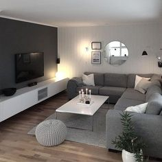 scandinavian living room style - decorations for home living room modern Nordic Inspiration: 7 Incredible Scandinavian Living Room Designs - Interior Remodel Living Room Interior, Home Living Room, Apartment Living, Living Room Designs, Tv Living Rooms, Kitchen Living, Gray Couch Living Room, Living Room Ideas On A Budget, Colour Schemes For Living Room Grey