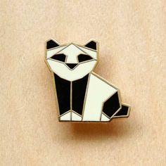Origami Panda Brooch