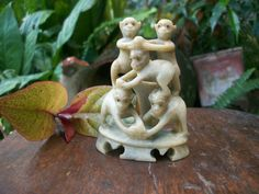 1960s Year Of The Monkey Chinese Hand Carved Soapstone 5 Monkeys Pyramid With Original Sticker
