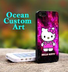 Hello Kitty Purple Galaxy  - Print on Hard Cover iPhone 5 Black Case