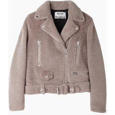Acne Studios Mock Felted Motorcycle Jacket (4,210 ILS) ❤ liked on Polyvore featuring outerwear, jackets, coats & jackets, tops, motorcycle jacket, pocket jacket, acne studios, moto jacket and long sleeve jacket