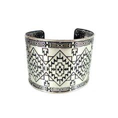 Silver Aztec Thick Cuff